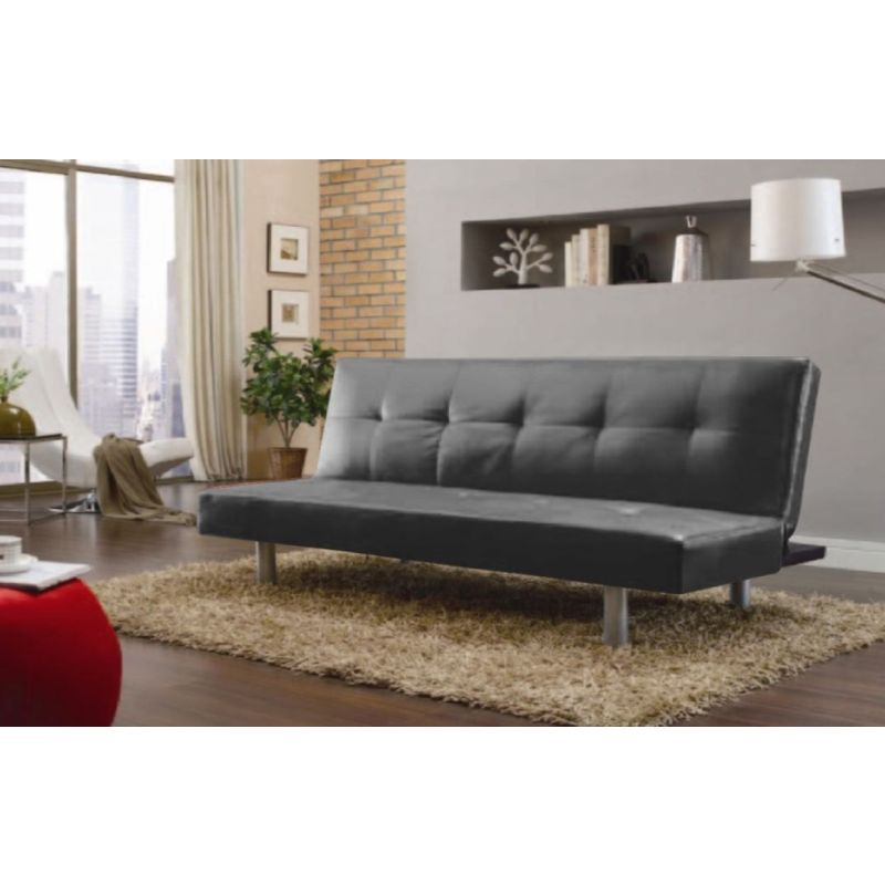 PU Leather 3 Seat Sofa Bed Couch In Black Or Red
