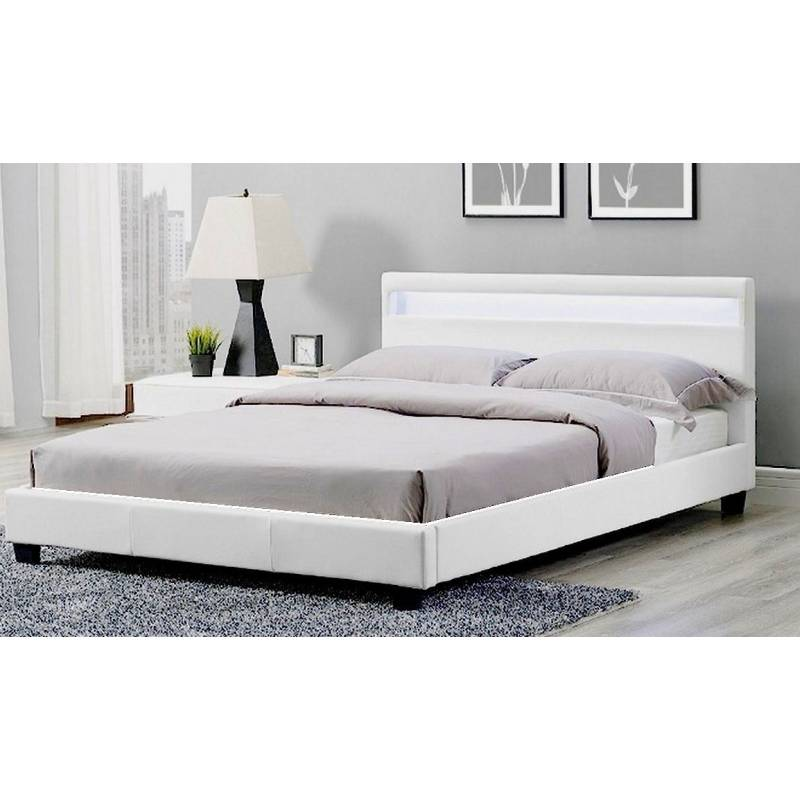 Ross LED Double Bed Frame in White PU Leather | Buy Double Bed Frame