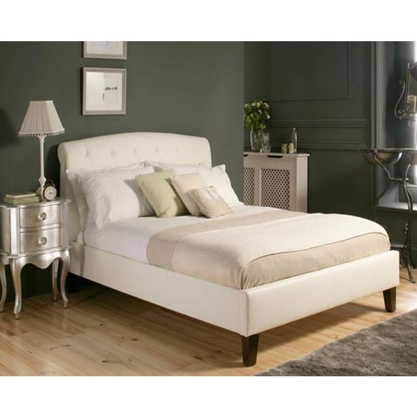mono lisa queen size pu leather bed frame in white