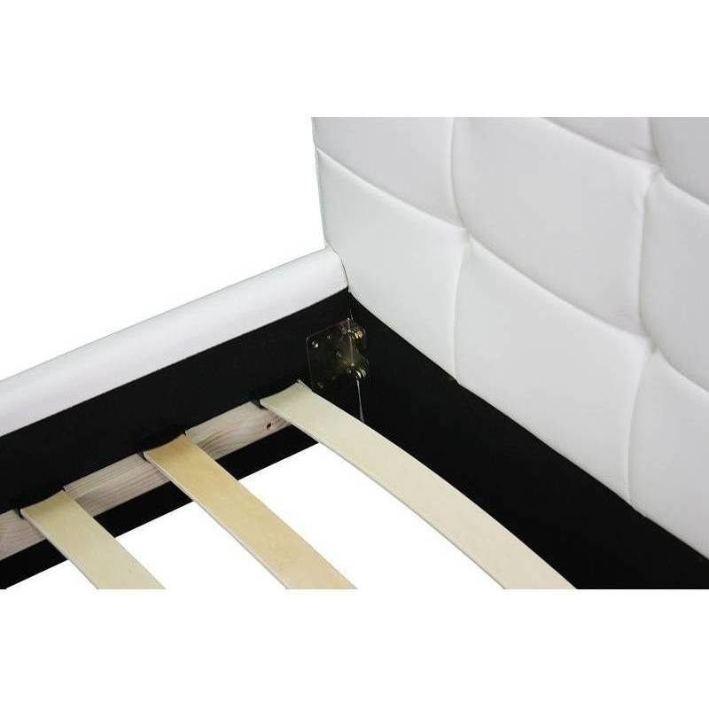 Queen size pu leather quilted bed frame in white buy for Quilted bed frame