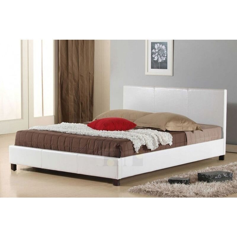 Queen Size PU Leather Upholstered Bed Frame White | Buy Queen Bed Frame