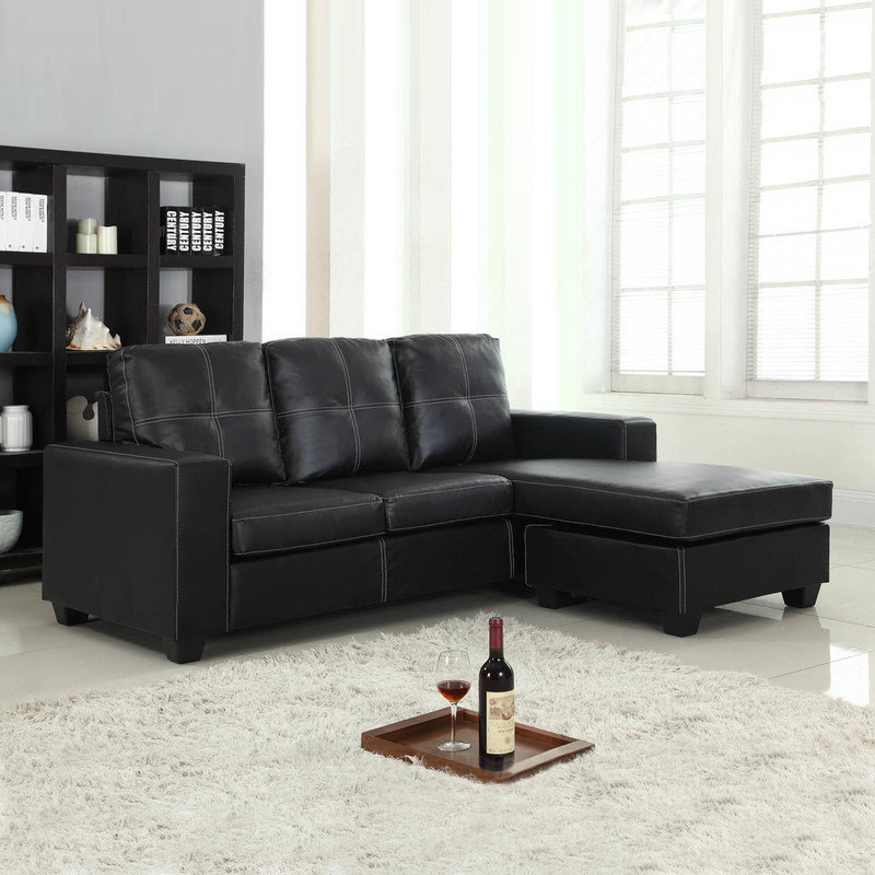 PU Leather Lounge Suite with Chaise Lounge in Black | Buy Sofas - 61392
