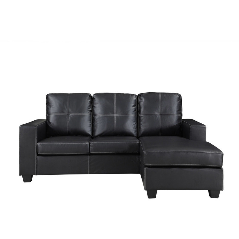 Pu leather lounge suite with chaise lounge in black buy for Black leather chaise lounge sofa