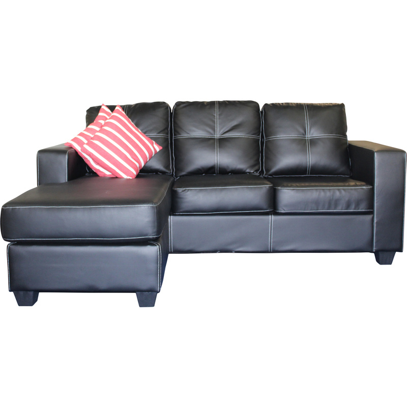Pu leather lounge suite with chaise lounge in black buy for Black leather chaise sale