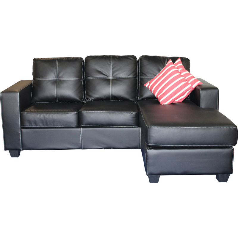 Pu leather lounge suite with chaise lounge in black buy for Black friday chaise lounge