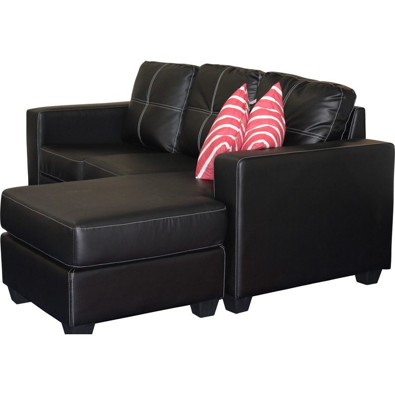 Pu leather lounge suite with chaise lounge in black buy for Buy chaise lounge sofa