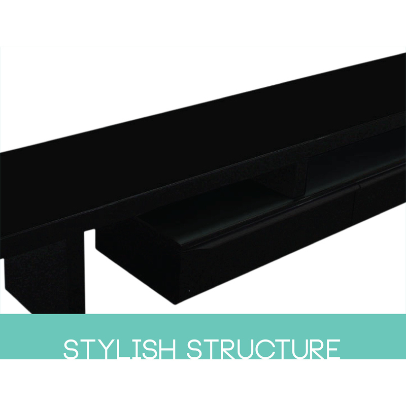 Abstract Tv Stand W Glass Top In High Gloss Black Buy