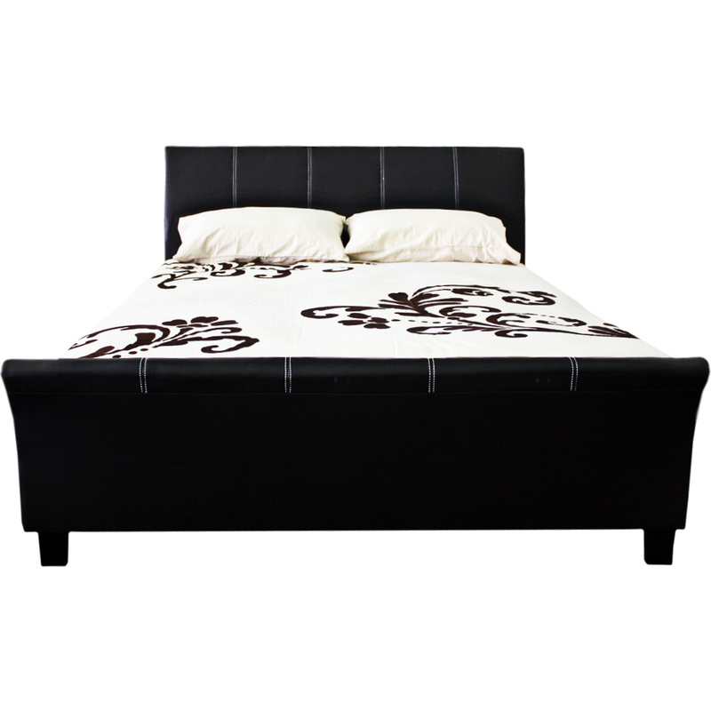 King Size PU Leather Sleigh Bed Frame in Black Buy King Size Bed