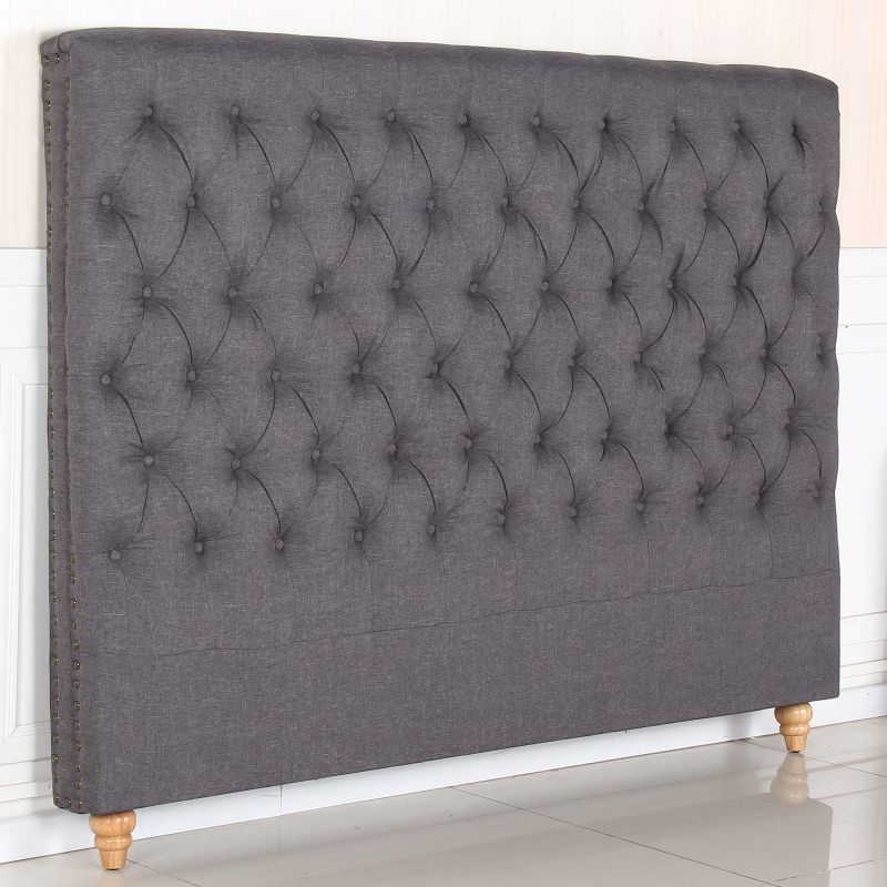 Sean King Size Fabric Bed Head W Studs In Charcoal Buy King Size