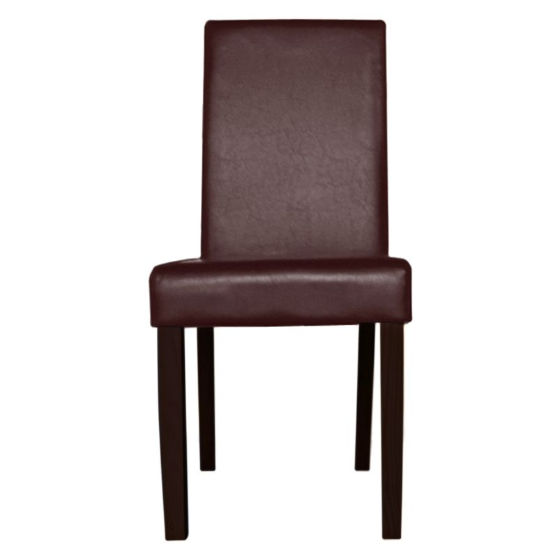 2x montina pu leather modern dining chair in brown buy for Modern brown leather dining chairs