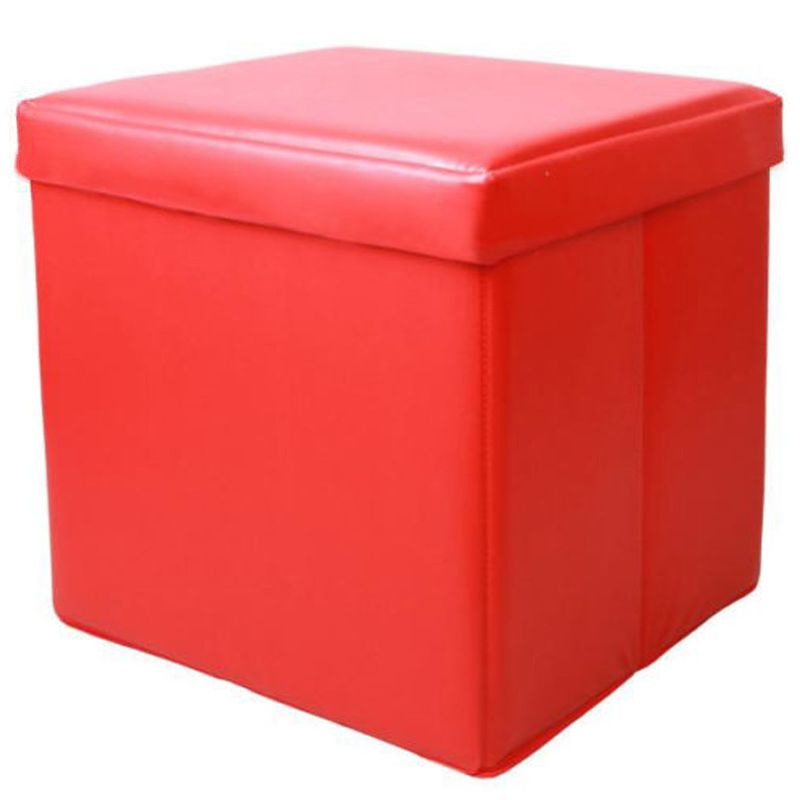Small faux leather storage ottoman foot rest in red buy for Foot storage ottoman