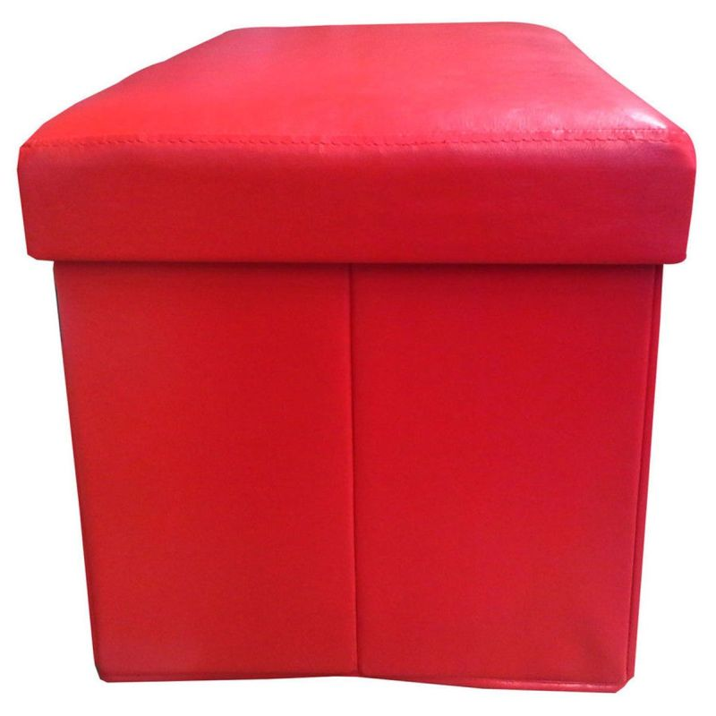small faux leather storage ottoman foot rest in red buy