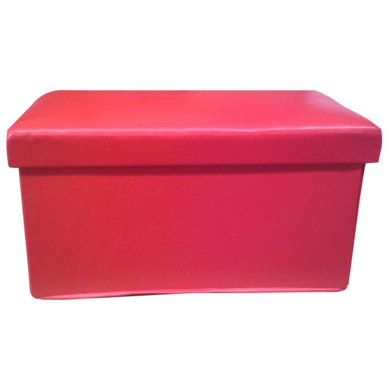 Large Faux Leather Storage Ottoman Foot Rest In Red Buy