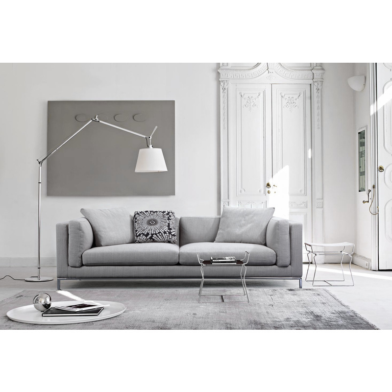 Carlton Modern 2 Seater Sofa Couch In Grey Fabric Buy