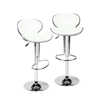 2x Contour PU Leather Gas Lift Bar Stool White