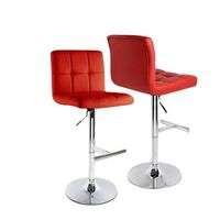2x Grid PU Leather Gas Lift Bar Stools in Red