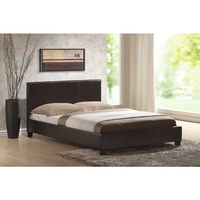 Double Size Modern PU Leather Bed Frame in Brown