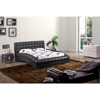 Curved Elegance Queen PU Leather Bed Frame in Black