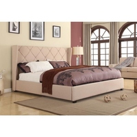 King Size Louvre Wingback Bed Frame in Beige