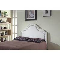 Queen Size Anne Sculpted White Fabric Bed Head