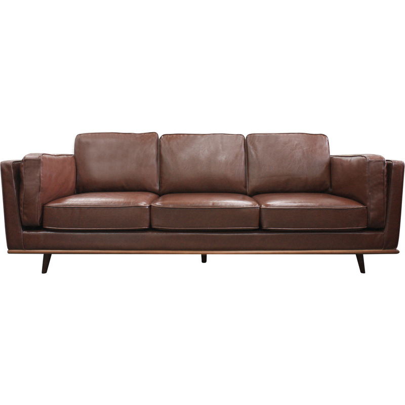 Hurry Up For Your Best Cheap Sofas On Sale: York 3 Seat PU Leather Sofa W/ Wooden Legs In Brown