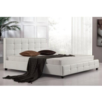 Queen Size PU Leather Quilted Bed Frame in White