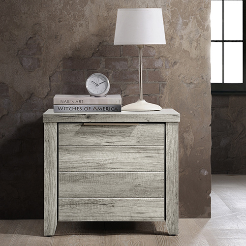 Alice mdf wood bedside table w 2 drawers white ash buy for Buy white bedside table