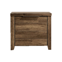 Alice Rustic Bedside Table w/ 2 Drawers in Oak Tone