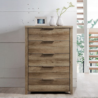 Alice Rustic Chest of 5 Drawers Tallboy in Oak Tone