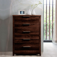 Alice Rustic Chest of 5 Drawers Tallboy Wenge Tone