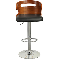 Adelaide Bentwood Gas Lift PU Leather Bar Stool