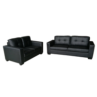 Nikki 2 & 3 Seater PU Leather Sofa Couch Set Black