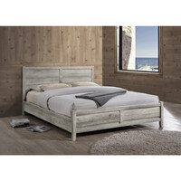 Alice Queen Size MDF Wood Bed Frame in White Ash
