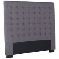 Cilantro Double Linen Fabric Bed Head in Charcoal
