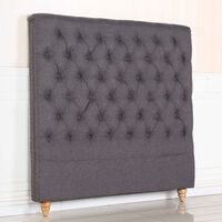 Sean Double Size Fabric Studded Bed Head Charcoal