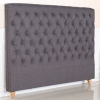 Sean King Size Fabric Bed Head w Studs - Charcoal