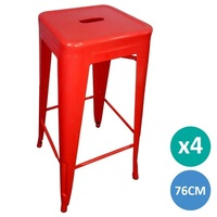 4x Replica Tolix Coated Steel Bar Stool in Red 76cm