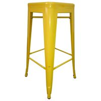 4x Replica Tolix Steel Bar Stools in Yellow 67cm