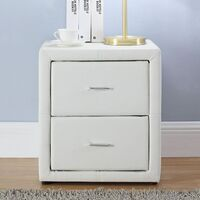 Mondeo 2 Drawer Leatherette Bedside Table in White