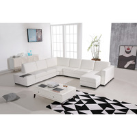 Diva 6 Seat Bonded Leather Lounge w Table in White