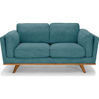 York 2 Seat Linen Fabric Sofa w/ Wooden Legs - Teal