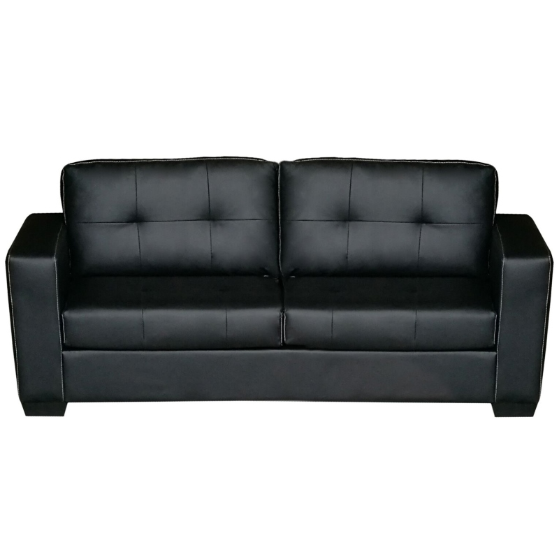Nikki 2 U0026 3 Seater PU Leather Sofa Couch Set Black