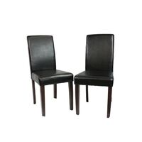 2 Black Faux Leather High Back Dining Room Chairs