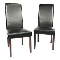 2x Black Swiss Leather Dining Chair w/ Wooden Legs
