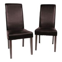 2x Brown Swiss Leather Dining Chair w/ Wooden Legs