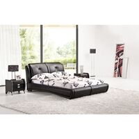 Queen Size Low Bed Frame in Black PU Leather