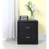 Padded Leather Bedside Table PU Matte Black Leather
