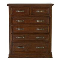 Tallboy Dresser Chest Aged Blackwood 6 Drawers
