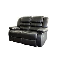 2 Seat Bonded Leather Recliner Couch Chair in Black