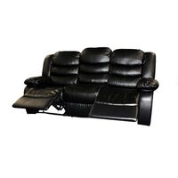 3 Seat Bonded Leather Recliner Lounge Sofa in Black